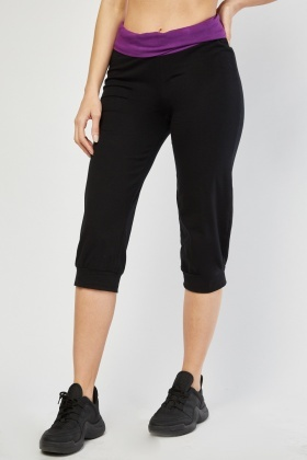 Crop Length Casual Jogger Pants Black Purple Just 163 5