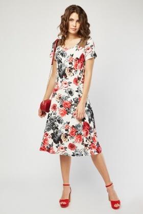 8e00fa72c9f Flower Printed Midi Swing Dress