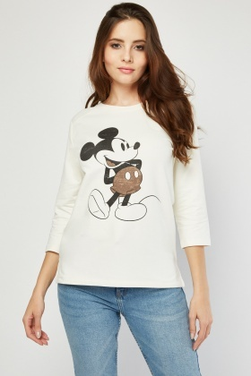 Micky Mouse Print Front Sweater