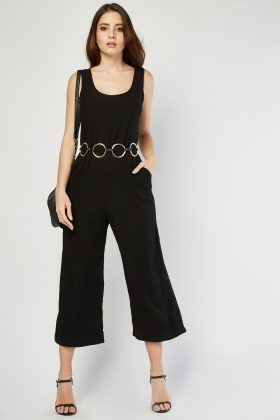 Wide Leg Textured Jumpsuit