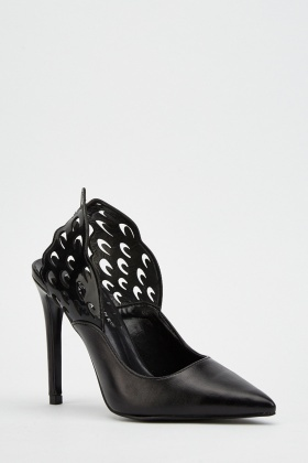 Black Laser Cut Court Heels