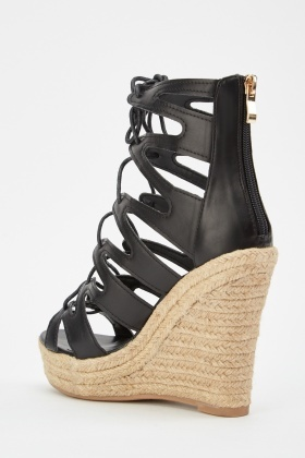 Cut Out Lace Up Wedge Sandals - Just $6
