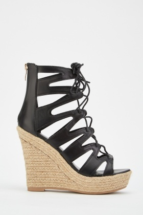 Cut Out Lace Up Wedge Sandals