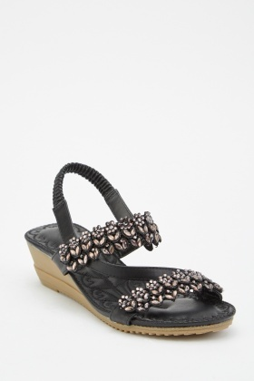 Embellished Faux Leather Sandals