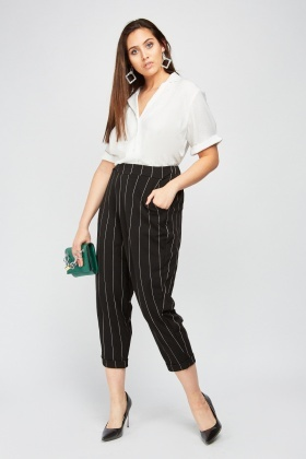 High Waist Crop Tapered Trousers