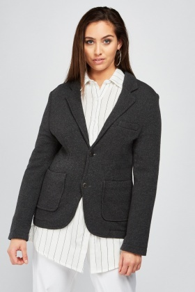 Grey Jersey Knit Blazer