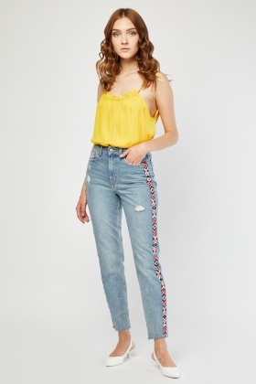 Mom Jeans With Jacquard Trim