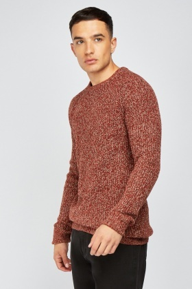 Speckled Herringbone Knit Jumper