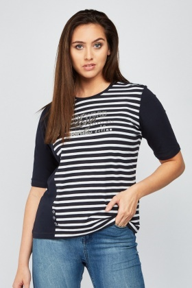 Encrusted Stripe Contrast Top