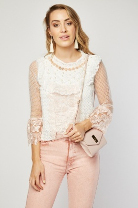 Faux Pearl Lace Mix Top