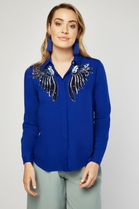 Sequin Wings Embellished Shirt