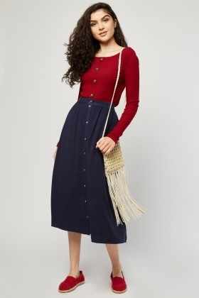 Button Front Midi Flared Skirt