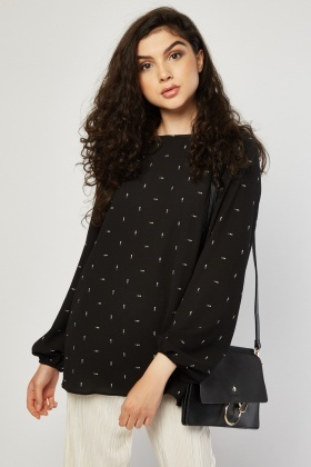 Heart Print Sheer Blouse