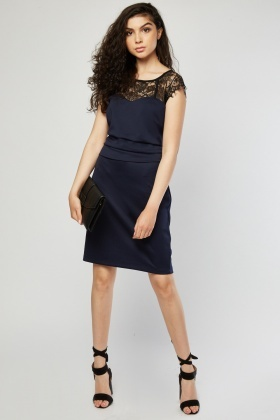 Lace Insert Pleated Bodycon Dress