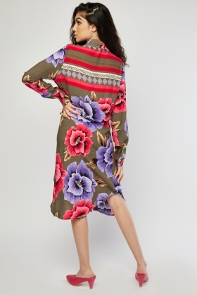 Large Floral Print Shirt Dress