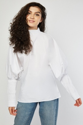 Shirred Batwing Sleeve Blouse