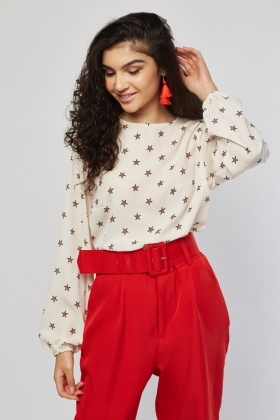 Star Printed Chiffon Blouse