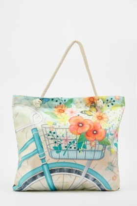Bicycle Floral Print Tote Bag