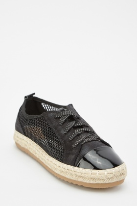 Perforated Mesh Espadrille Plimsolls