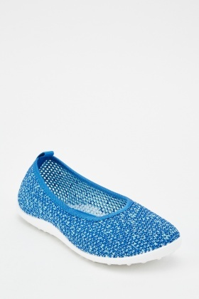 Speckled Knit Flat Pumps
