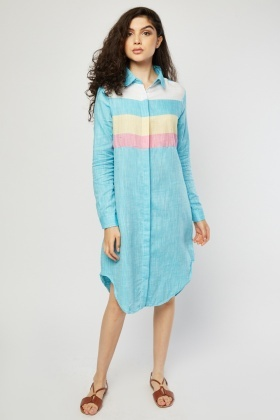 Colour Block Midi Shirt Dress