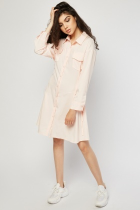Lace Up Side Shirt Dress