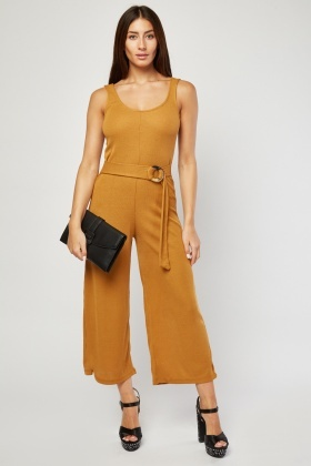 O-Ring Belted Ribbed Jumpsuit