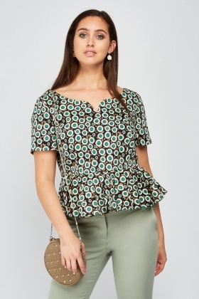 Printed Frilly Hem Peplum Top