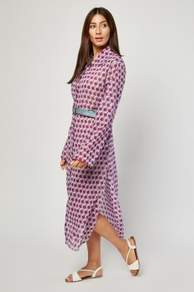 Printed Sheer Shirt Dress