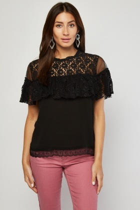 Ruffle Lace Mesh Panel Top