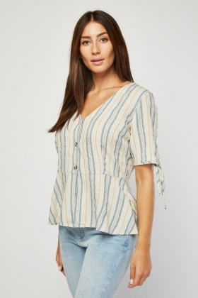 Tie Up Stripe Cotton Blouse