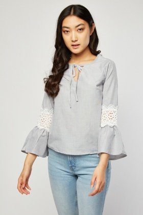 Crochet Sleeve Panel Blouse