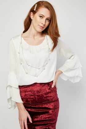 Pearl Necklace Overlay Silky Blouse