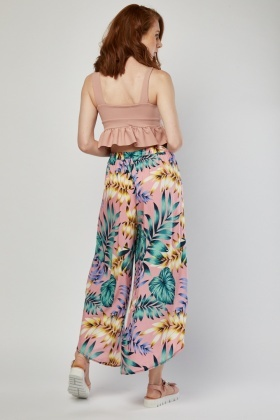 Wide Leg Tropical Print Culottes