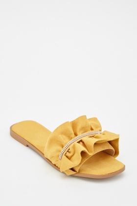 Diamante Trim Ruffle Slides