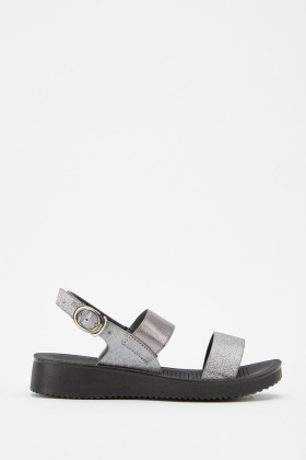 Metallic Elastic Strap Sandals