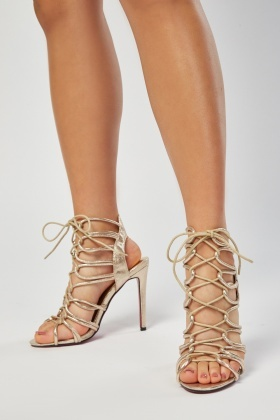 Metallic Lace Up Heeled Sandals