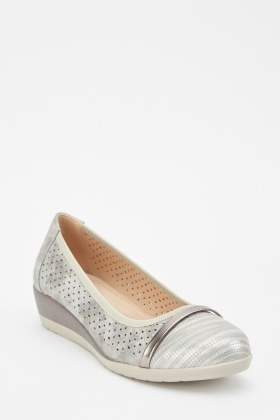 Metallic Laser Cut Wedge Shoes