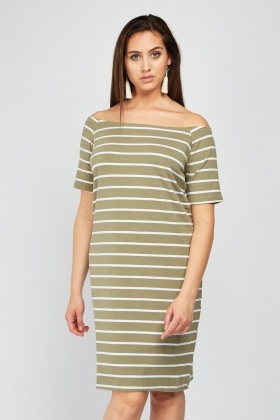 Off Shoulder Striped Dress