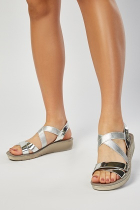 PVC Cross-Strap Contrast Sandals