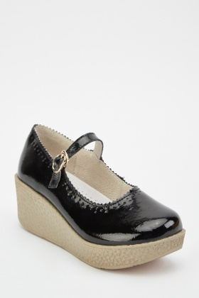 PVC Mary-Jane Wedge Shoes