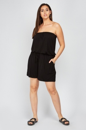 Strapless Black Jersey Playsuit