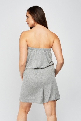 Strapless Grey Jersey Playsuit