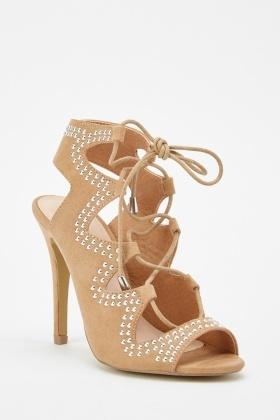 Studded Cut Out Lace Up Sandals
