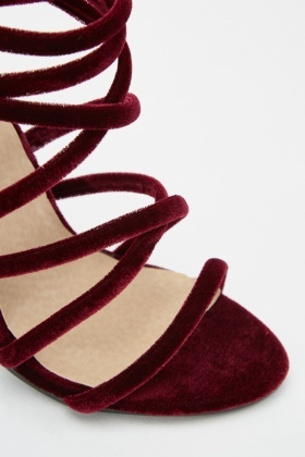 Velveteen Strappy Heel Sandals