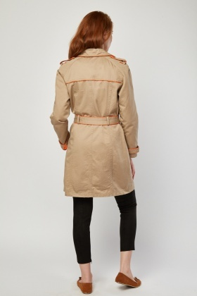 Contrasted Trim Trench Coat