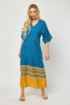 Ethnic Tile Print Maxi Dress