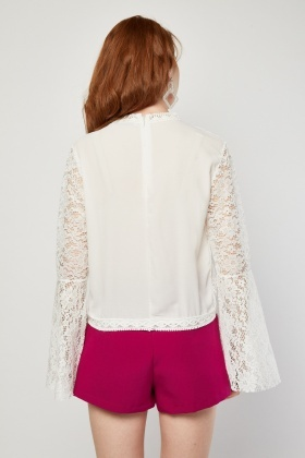Faux Pearl Embellished Bell Sleeve Blouse