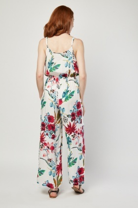 Plunge Front Printed Jumpsuit