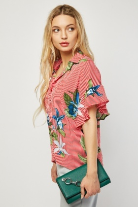 Printed Stripe Short Sleeve Shirt